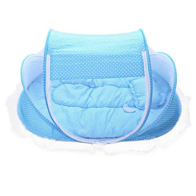 Baby Cribs 5pcs Portable Type Comfortable Babies Sealed Mosquito Net Mattress Pillow Mesh Bag Music Accessory
