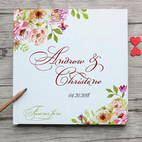 Personalized White Wedding Guest Book With Flowers Custom Bride Groom's Name Wedding Date Guest Book