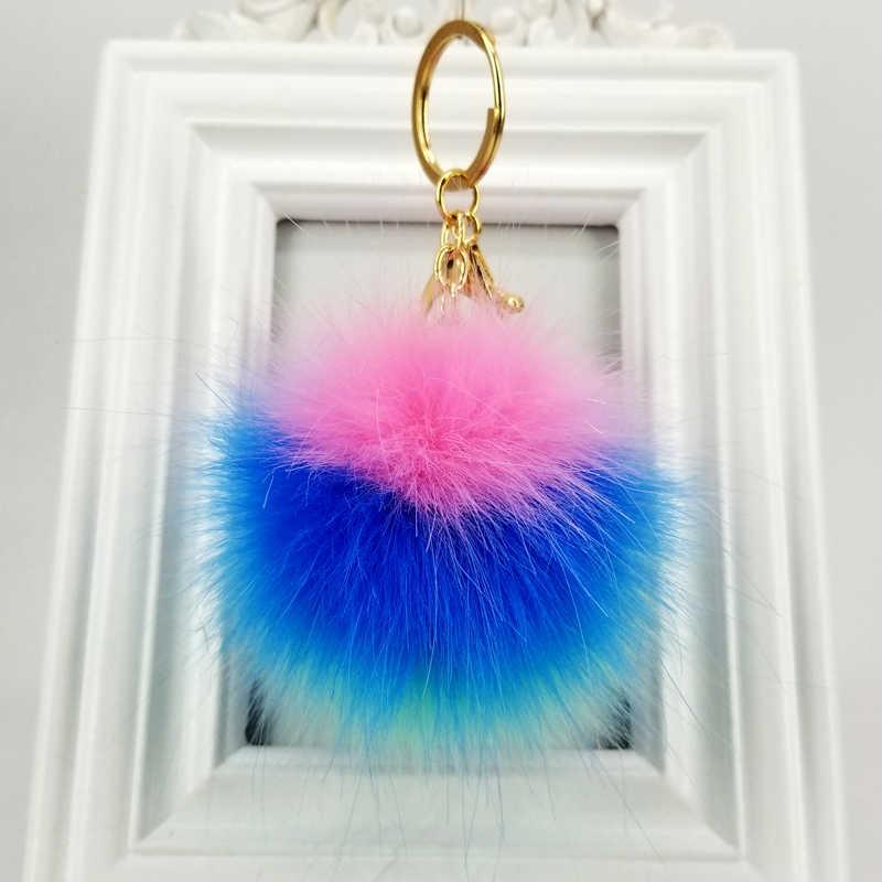 LLavero de bola esponjosa Arco Iris pompones 8cm llavero de bola colgantes decorativos para bolsos de Mujer Accesorios de llave de coche fiesta de boda regalo