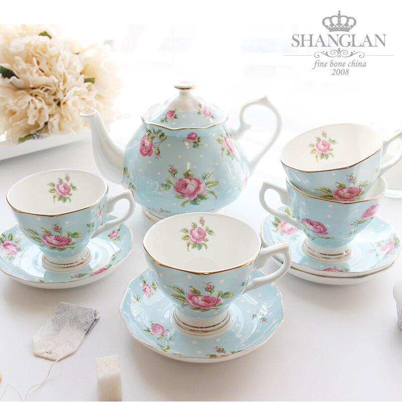 Ensembles de thé à café ensemble de tasse à café en porcelaine os cadeau créatif ensemble de tasse à thé britannique 1 Pot et 4 tasses à café