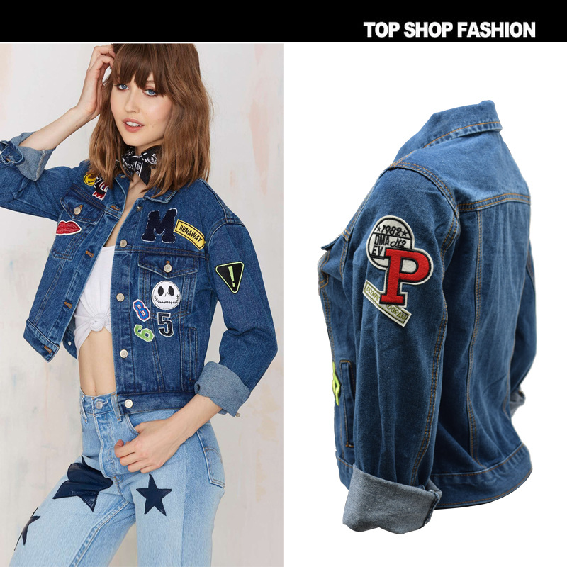 53e4082e9c6 High Street 2016 New Women Denim Coat Tops Ladies Spring Ripped Denim Jacket  Embroidery Patchwork Punk Jeans Jackets For Women-in Basic Jackets from  Women s ...