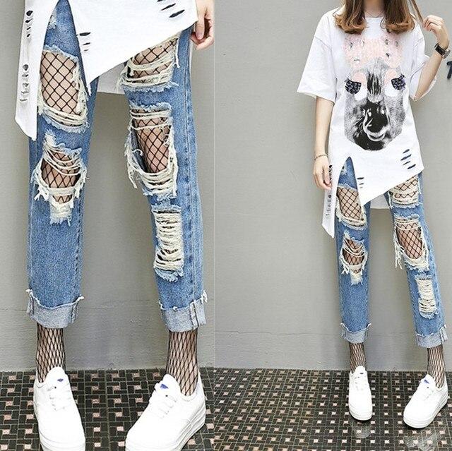 15a96b553 Europen primavera novedad pantalones de mezclilla a la moda para mujer  pantalones vaqueros Rotos hasta el