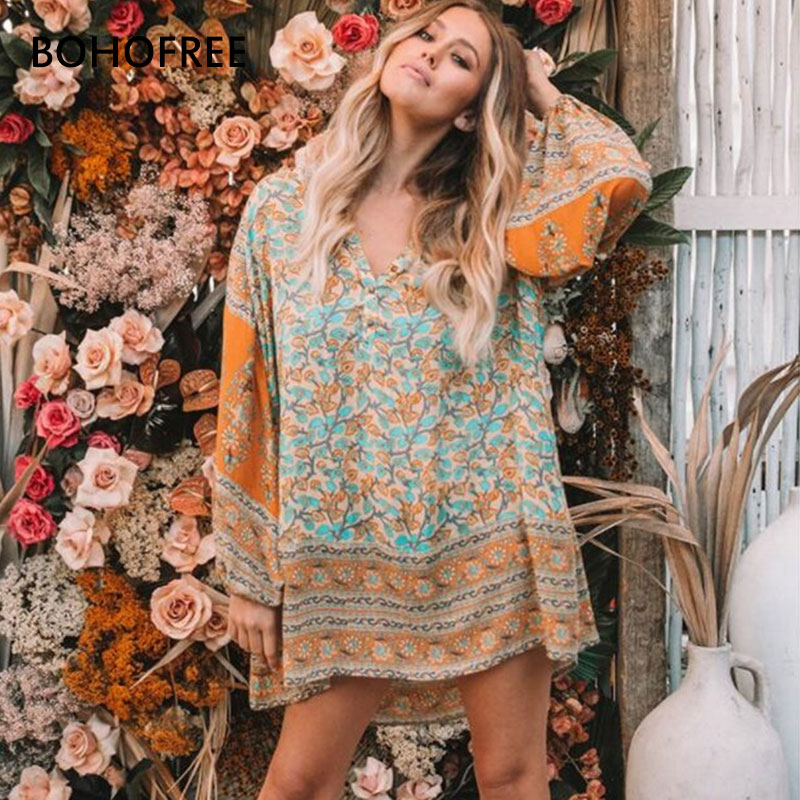 1e4725c3cb21 BOHOFREE DELIRIUM SMOCK MINI DRESS V Neck Loose Long Sleeve Cotton Vestidos  Boho Dress Bohemian Vestidos Femme Beach Dress