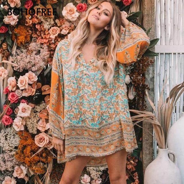 9bd08a4534cfc US $22.62 28% OFF|BOHOFREE DELIRIUM SMOCK MINI DRESS V Neck Loose Long  Sleeve Cotton Vestidos Boho Dress Bohemian Vestidos Femme Beach Dress -in  ...
