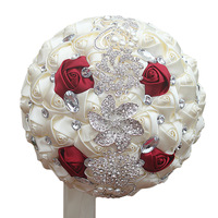 DIY Flowers Wedding Bouquet Fashion Design Ribbon Silk Pearl Bridal Bouquet Crystal Rose Flowers Holding W228 4H
