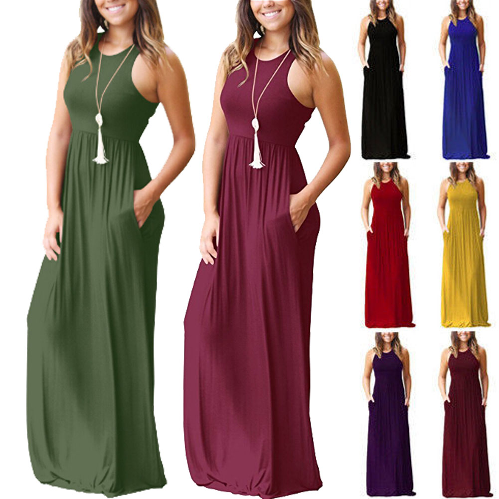 HTB1nvciviCYBuNkHFCcq6AHtVXa8 Sexy Women Boho Maxi Club Solid Sleeveless Vest Dress Bandage Long Dress Party Bridesmaids Infinity Robe Longue Femme Dresses