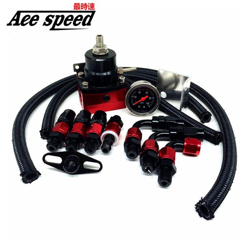 Universal Adjustable Fuel Pressure Regulator With Gauge+AN6 Fuel Line Hose+Fittings End Kit
