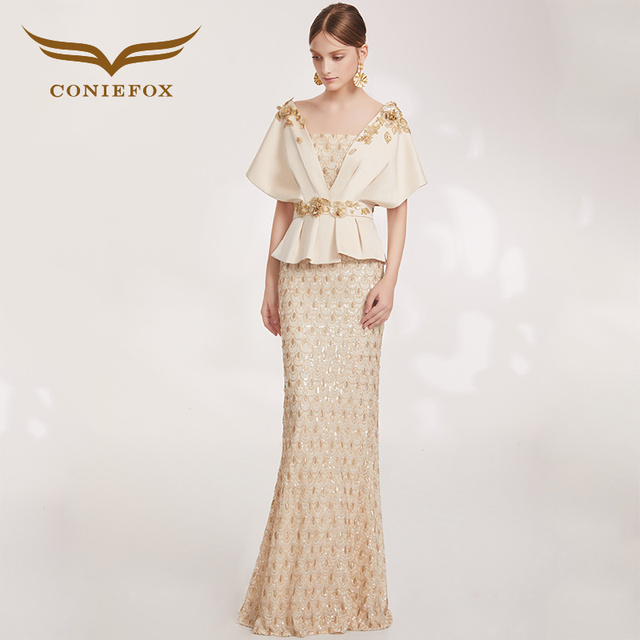 992c00b28c9 CONIEFOX 33191 New Beige Sequins Elegant Simple style Popular prom dresses  party evening dress long dress