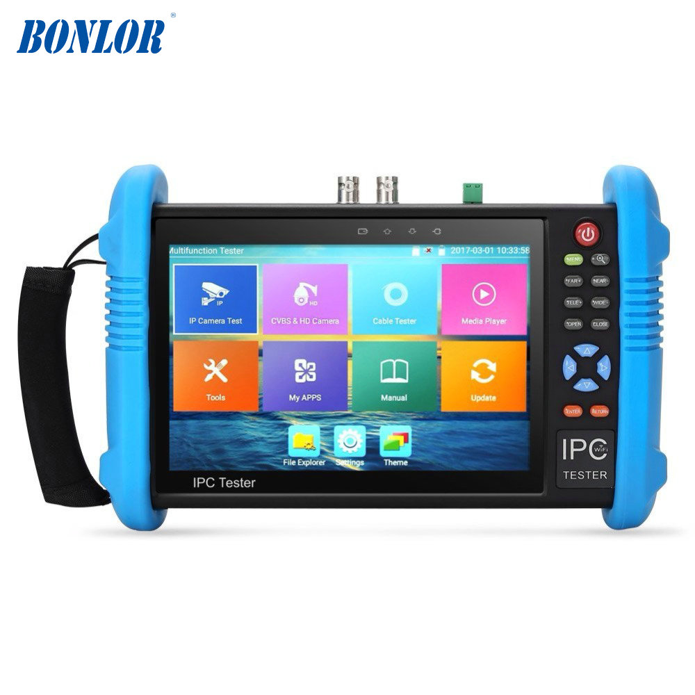 Free Shipping Upgraded 7 inch IPS Touch Screen H.265 4K IPC-9800ADH Plus IP Camera Tester CCTV CVBS Analog Tester Built in Wifi