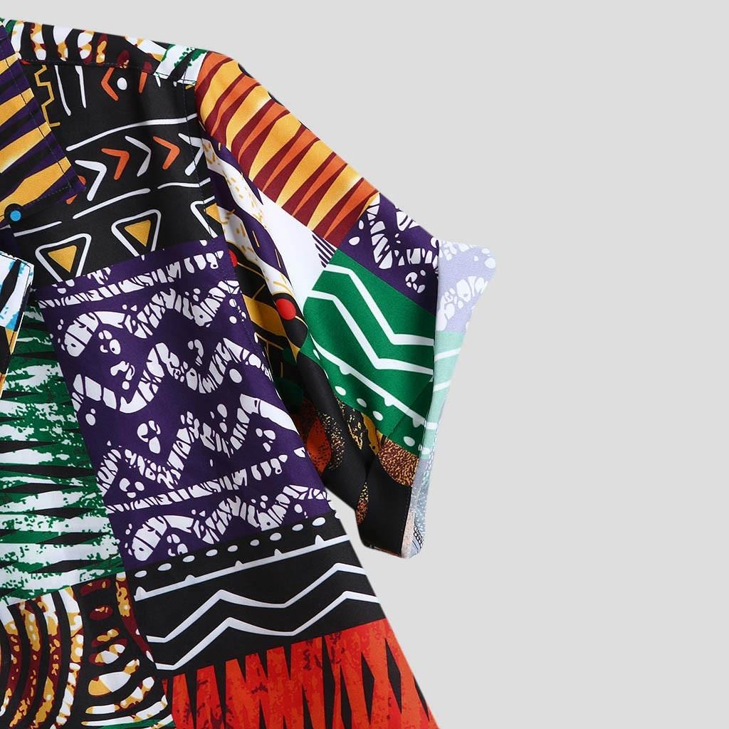 Womail New Arrival Vintage Cotton Men Shirt Short Sleeve Ethnic Style Print Tops 2019 Loose Hawaiian Shirts Men Streetwear 5