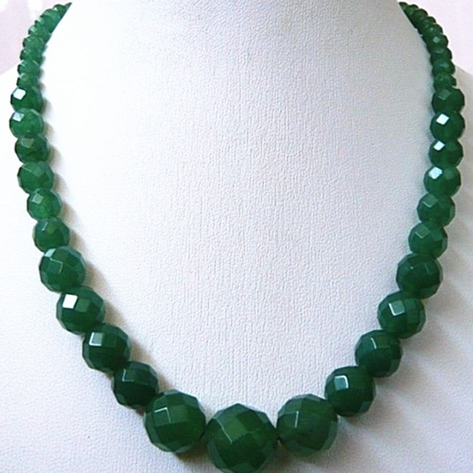 614mm Faceted Round Natural Green Stone Chalcedony Jades Beads Necklace Women Jewels 18inch GE1138