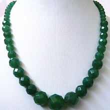 High quality 6-14mm faceted round natural green stone chalcedony jades beads necklace wholesale price women jewels 18inch GE1138