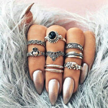 1 Set Online Celebrity Vintage Knuckle Rings for Women Boho Geometric Flower Crystal Ring Set Bohemian Finger Jewelry(China)