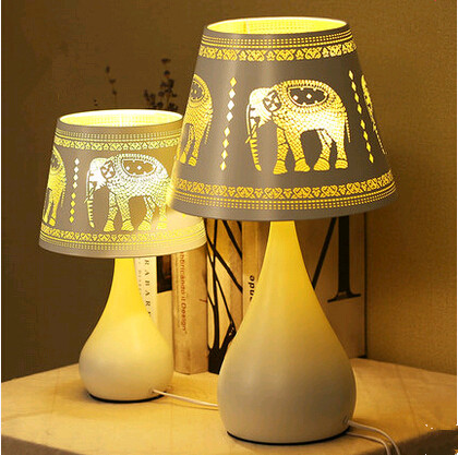 ФОТО Modern creative hollow yellow elephant pattern iron art Table Lamps Beautiful  individuality high translucent lamp for bedside
