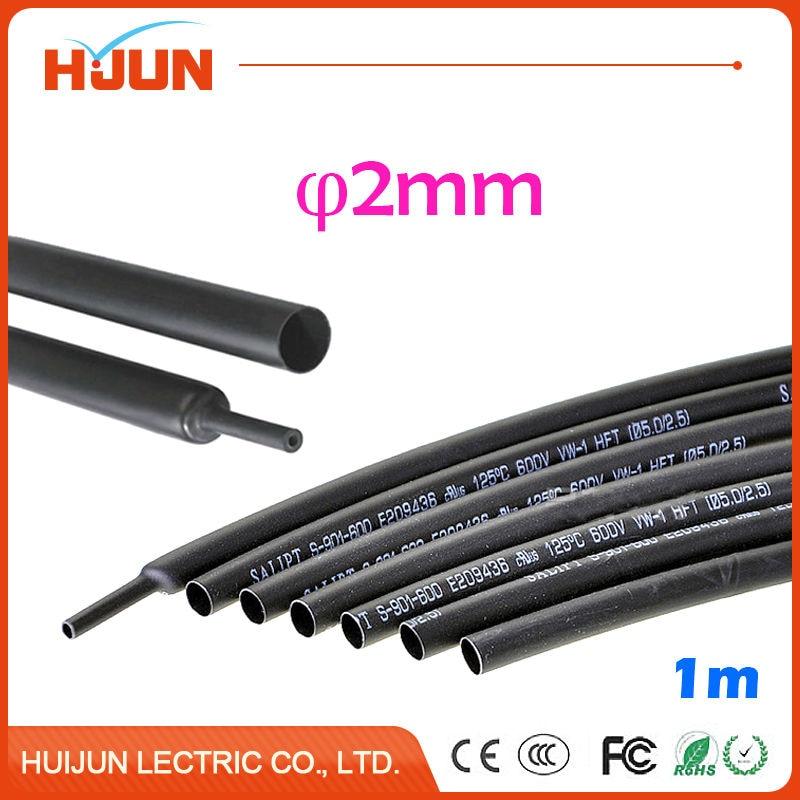 1 Meter/lot 2:1 Black 2mm Diameter Heat Shrink Tube Heatshrink Tubing Transparent Sleeving Wrap Wire