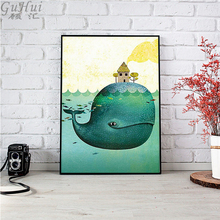 Fairy tale world Whale Ocean Drifting Little House Canvas Painting Nordic Cartoon Animal Poster Living Room Decor Wall Pictures