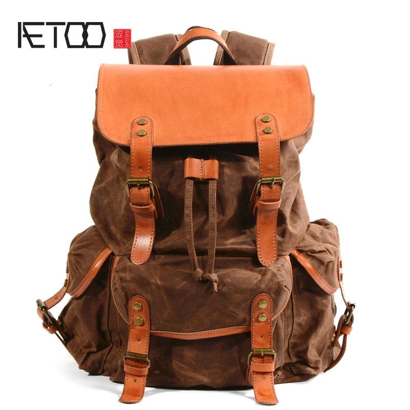 AETOO Cloth bag men's waterproof oil wax canvas bag retro outdoor travel backpack large capacity tide package все цены