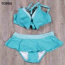 TCBSG 2019 Sexy High Neck Halter Crop Bikinis Women Swimsuit Bandage Swimwear Solid Bikini Set Brazilian Bathing Suit Swim Wear