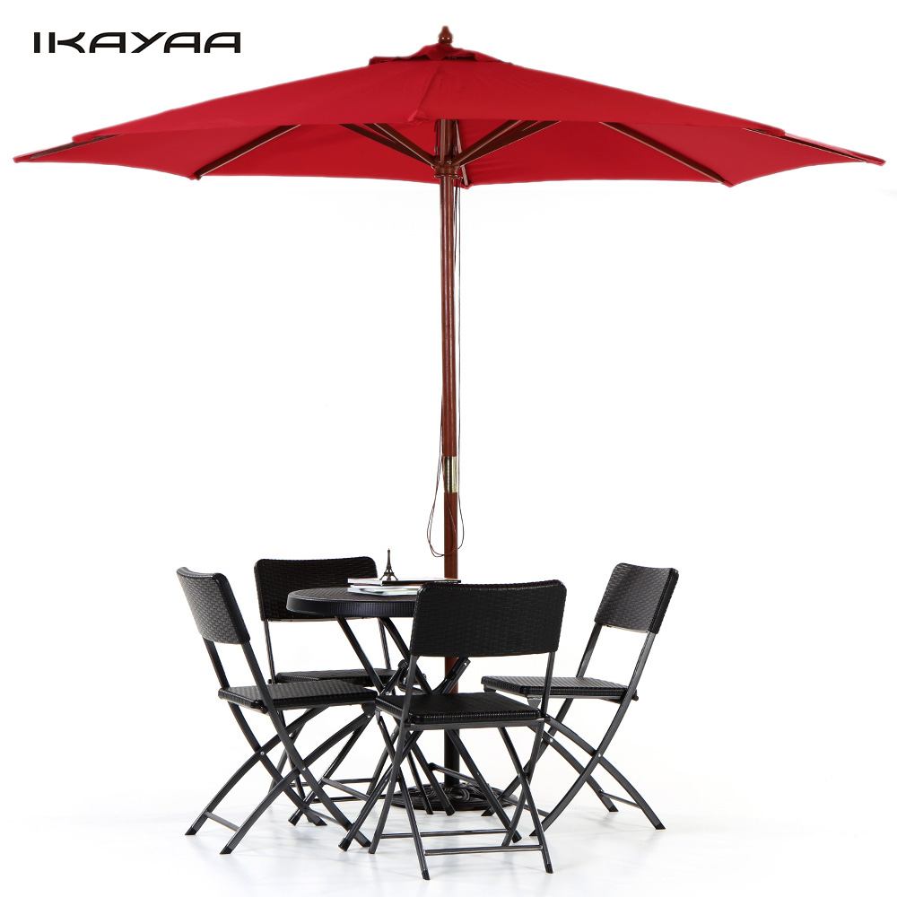 Outdoor cafe chairs - Aliexpress Com Buy Ikayaa Fr Stock 3m Wooden Beach Garden Patio Umbrella Cafe Parasol Jardin Canopy 8 Ribs 48mm Pole W Air Vent 180g Polyester From