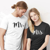 Couple Shirt Mr And Mrs Tees Honeymoon Tshirt Funny Letter Couple Cotton T Shirts Wedding T