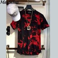 Człowiek Tun si 2017 Nowy balsam Hip Hop T shirt tie dye Topy Tee Rozszerzony z boku na zamek błyskawiczny T koszula Mężczyzn Swag Odzieży miejskiej kanye west M-XL
