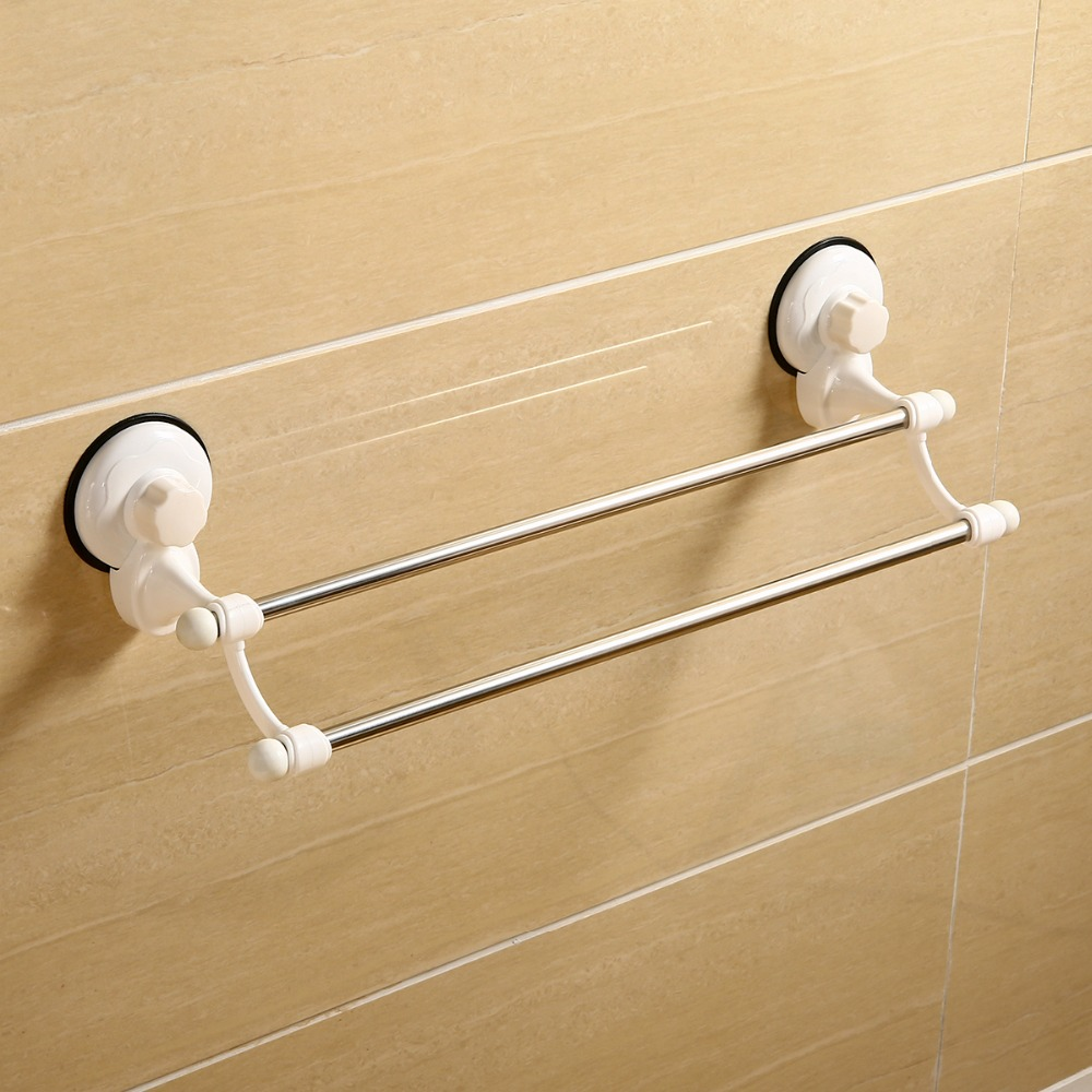 Mayitr Dual Layer Suction Towel Rack Stainless Steel Wall Mount Bathroom Towel Holder Rack Rail Shelf Bathroom Accessories nails fashion vintage wrought iron bookshelf bathroom towel rack suction cup magazine rack wall mounted shelf