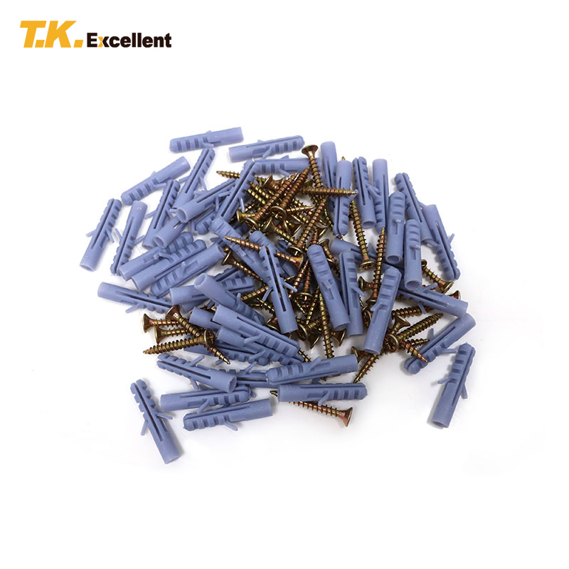 T.K.EXCELLENT 100 Pcs C1022 Head Pozidriv Fibreboard Screws And PP E6 Fish Shape Expansion Hardware Fasteners Tools Screws t k excellent 2000 pcs fibreboard screws kit flat head q1022 cks head pozi chipboard hardware fastener tools home decoration
