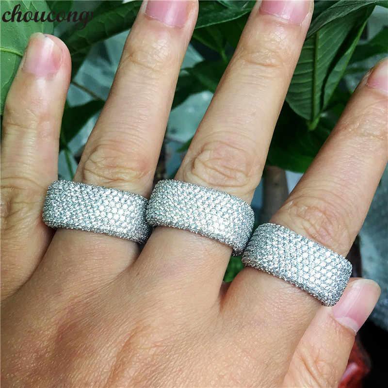 Choucong Handmad promesse anneau 925 en argent sterling complet Micro pave 450 pc Zircon cz fête de mariage anneaux pour femmes hommes bijoux