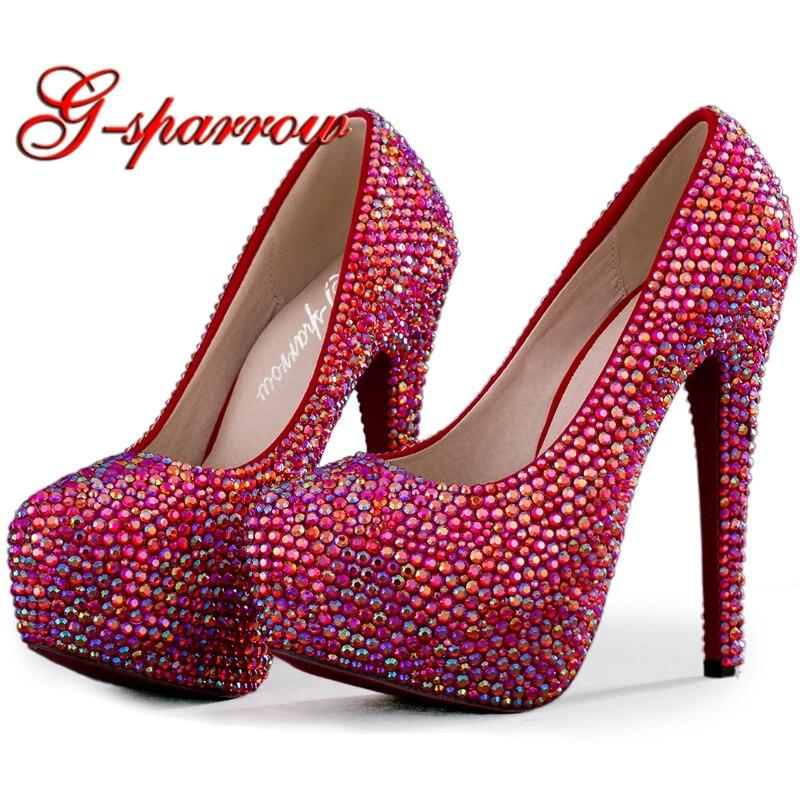 Wedding High Heels Sandals: Sparkling AB Crystal Red Wedding High Heels Shoes