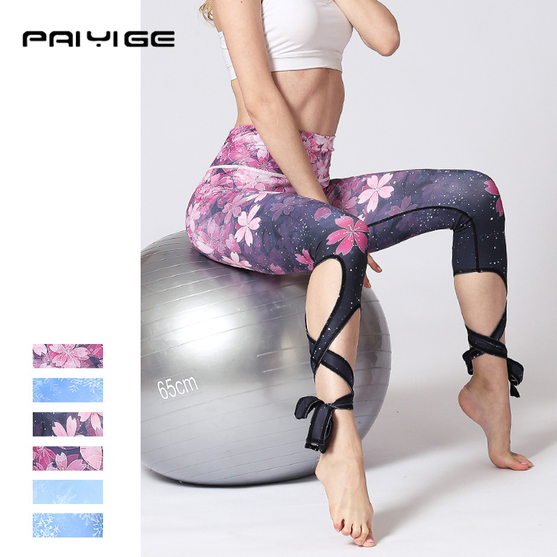 2018 New design mujer Bandage leggins high waist elastic gym pants Fitness Cross lift hip Yoga legging flexible workout trouser