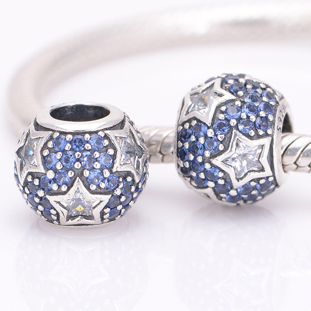 19f192c10 HOT SALE Fits Pandora Charms Bracelet 925 Sterling Silver Beads Midnight  Blue Pave Stars Charm DIY Bracelets for Women Jewelry