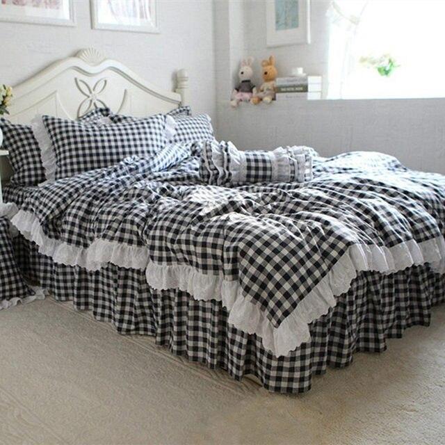 Top Hübschen Karierten Bettwäsche Set Luxus Rüsche Spitze Bettbezug