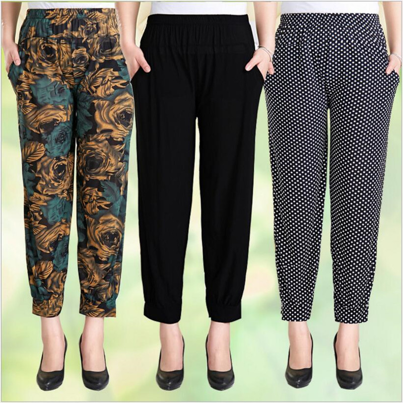 150pcs! Chinese Style Women Ankle-Length Harem Pants,Soft&Smooth Ice Silk Skin-friendly Loose Bloomers For Mothers,Big Yards