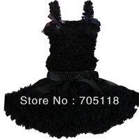 Negro niñas clásicos gasa vestido Tutus con 3 arcos princesa envío libre del vestido