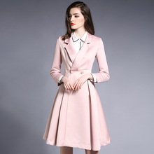 Kakagogo 2017 Autumn Fashion Full Long Double Breasted Skirt Solid Trench Pink font b Coat b