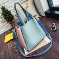 Double-sided Women Leather Handbags Panelled shoulder bag European and American simple multi-bucket bag Messenger portable tote