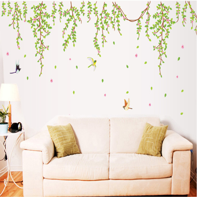 Wallpaper Decal: BIG Green Leaves Pink Flowers Birds Decal Vinyl Wall