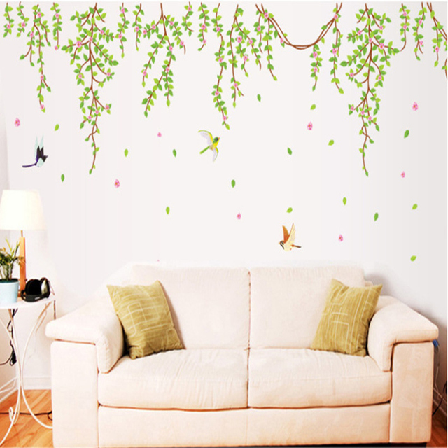 Big green leaves pink flowers birds decal vinyl wall stickers pvc decor removable diy home art