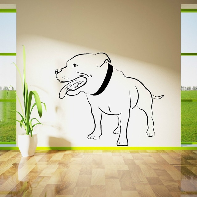 STAFFORDSHIRE BULL TERRIER DOG WALL ART Vinyl Room Sticker Decal Animal  Theme Lovly Dog Wall Decals