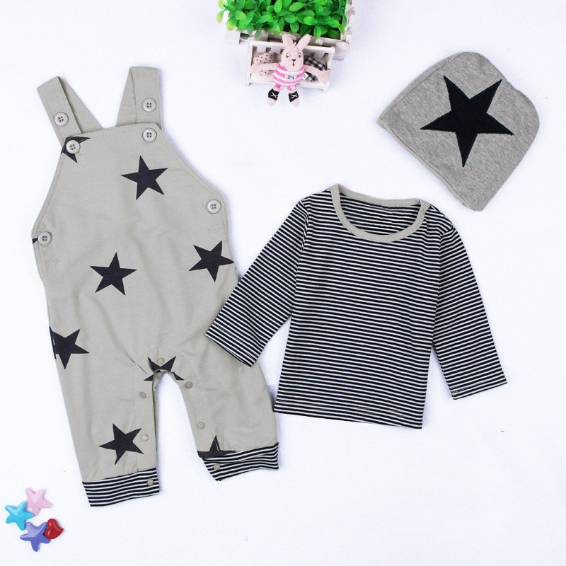 Baby Boys Baby Girls clothing set Newborn baby black grey striated T-shirt+ bib pants + hat stars pattern costumes suits (1)