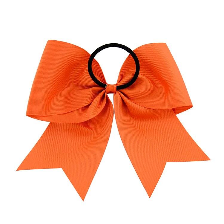 20pcs//lot 8 Inch Solid Cheerleading Bow Ponytail Elastic Band Ribbon Cheer Bows