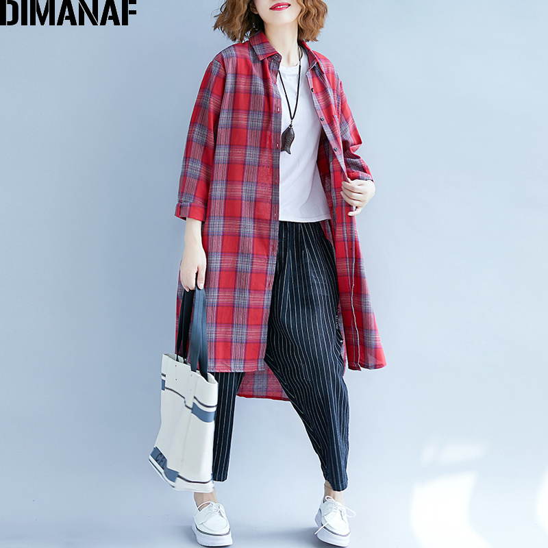 DIMANAF Women Blouse Shirt Cotton Autumn Plus Size Plaid Print Femme Office Lady Clothing Loose Basic Tops Long Sleeve Cardigan 1