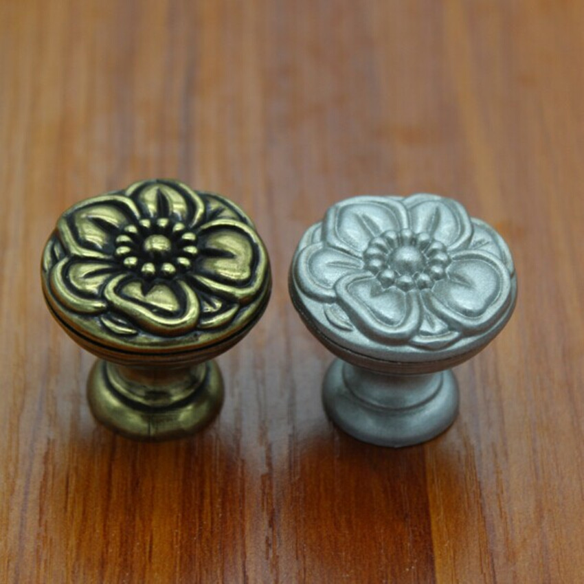 32mm retro flower type furniture knobs vintage bronze drawer cabinet knob pull antique silver dresser cupboard door handles knob