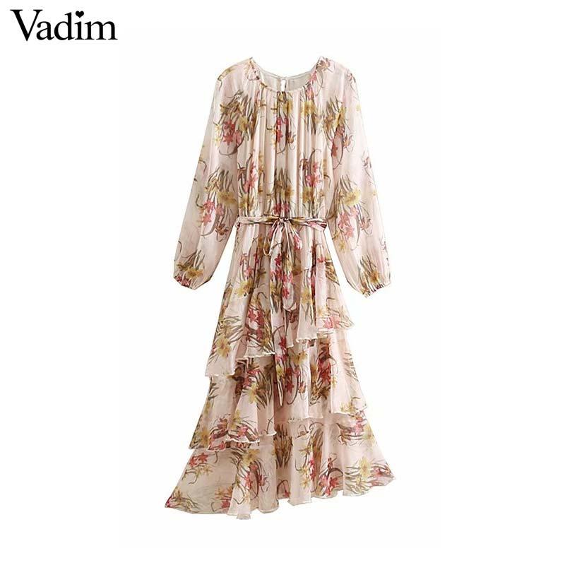 Women's Clothing Vadim Women Sweet Ruffled Collar Chiffon Dress Elastic Waist Flare Sleeve Female Casual Mid Calf Dress A Line Vestidos Qb415