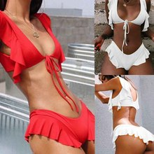 2019 New High Quality Elasticity And Sexy Women Bikini Split Swimwear Pure Lotus Leaf Ribbon Vacation Swimsuit