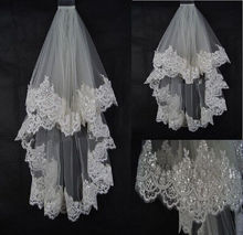 New Ivory/White Elbow Length Short Wedding Bridal Veil with Sequined Lace Trim