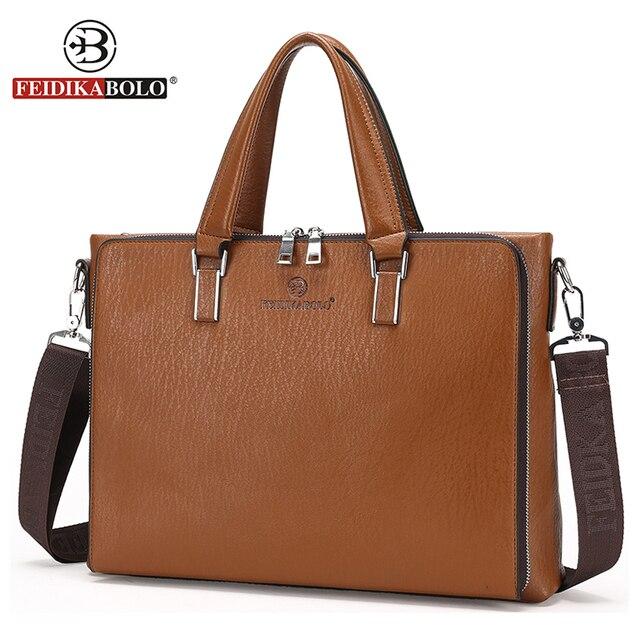 FEIDIKA BOLO Brand Bag Men Leather Briefcases Men Leather Laptop Bag Men Messenger Bags maletin hombre Business Man Briefcase