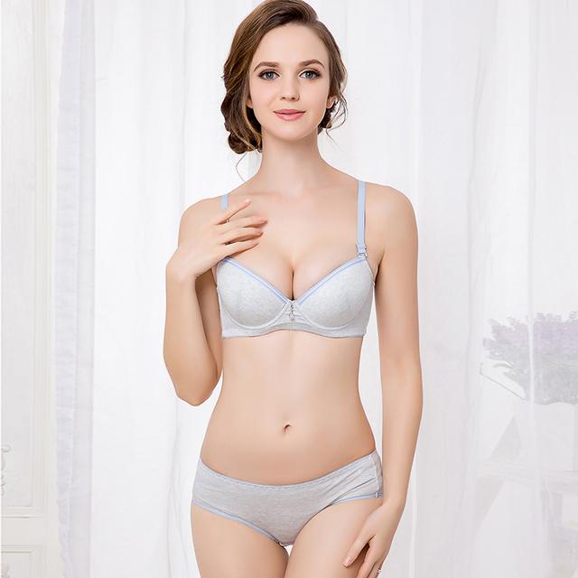 Jovem bra menina conjunto de roupa interior das mulheres sólidos push up bra breve conjuntos de correias ajustado copo B sutiã de algodão lingerie breve 2235