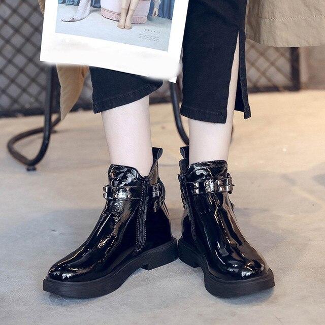 Çizmeler kadın Toka Ayakkabı Perçinler PU Deri Yuvarlak Ayak Sıcak Tutmak Kalın Topuk Klasik Sıcak Bayanlar Kar Martin Çizmeler sep #