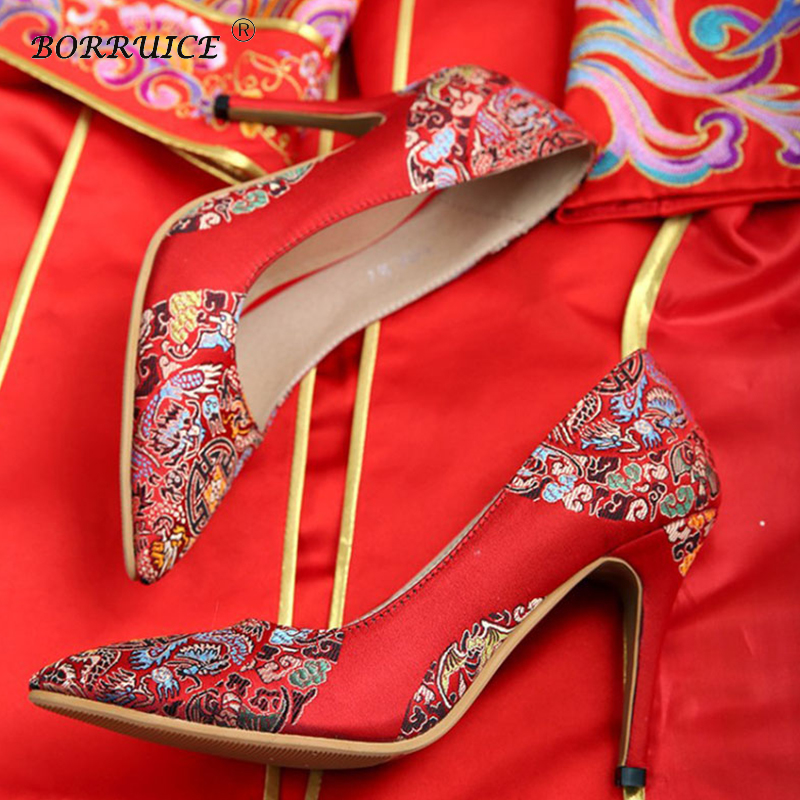 BORRUICE Chinese Women Wedding Shoes National Style High-heeled Pumps Shallow Mouth Wedding Shoes Cheongsam Red Bridal Shoes